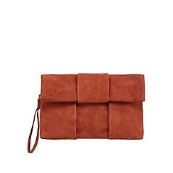 Faith - Dark orange suede fold over clutch bag