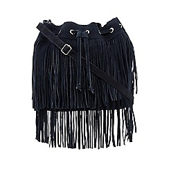 Faith - Navy fringed duffle bag