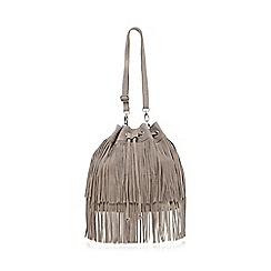 Faith - Grey fringed duffle bag