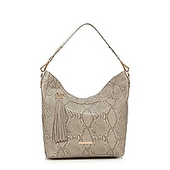 Faith - Cream snakeskin-effect shopper bag