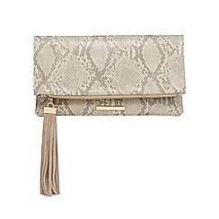Faith - Cream snakeskin-effect clutch bag