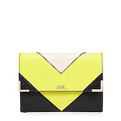 Faith - Lime chevron snakeskin-effect clutch bag