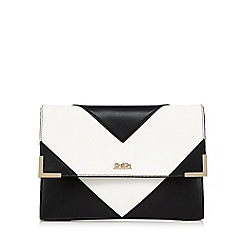 Faith - White chevron panel clutch bag