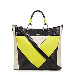 Faith - Lime chevron snakeskin-effect tote bag