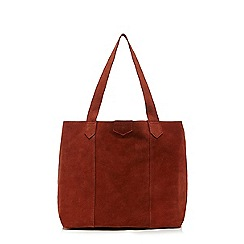 Faith - Dark orange suede shopper bag
