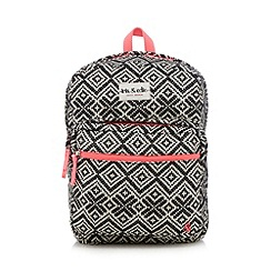 Iris & Edie - Black Fair Isle printed backpack
