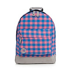 Mi-Pac - Pink and blue gingham 'Premium' backpack