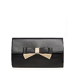 LYDC - Black bow applique oversized clutch bag