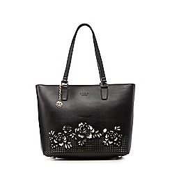 LYDC - Black cut-out rose shopper bag