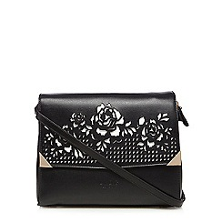 LYDC - Black cut-out rose cross body bag
