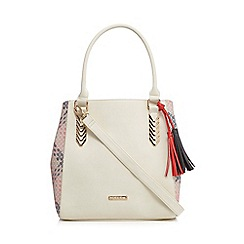 LYDC - Cream cross checked shopper bag