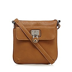 Kangol - Tan logo plate cross body bag