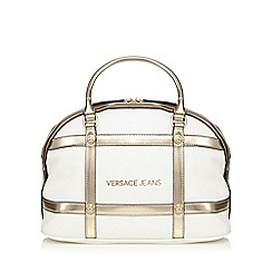 Versace Jeans - White grid print kettle bag