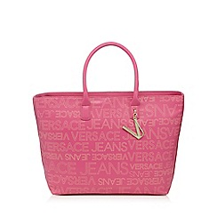 Versace Jeans - Pink logo print tote bag