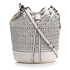 Clarks - White 'Miss Elena' laser cut drawstring shoulder bag