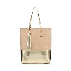 Clarks - Light pink contrasting metallic shopper bag