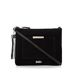 Faith - Black suede clutch bag