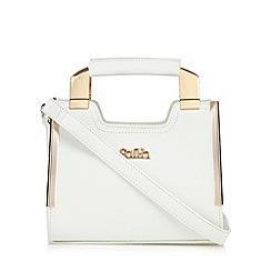 Faith - White textured leatherette mini grab bag