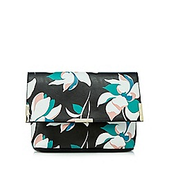 Faith - Black floral print clutch bag