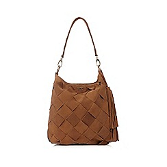 Faith - Tan suede woven shoulder bag