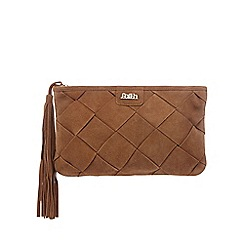 Faith - Tan suede weaved clutch bag