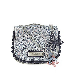 Floozie by Frost French - White butterfly and flower print saddle bag