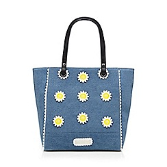 Floozie by Frost French - Blue denim daisy applique tote bag