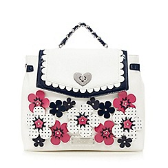 Floozie by Frost French - Cream backpack with applique pink and navy flowers