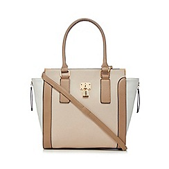 Call It Spring - Beige colour block tote bag
