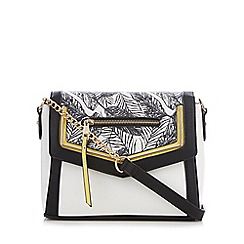 Call It Spring - Black and white 'Rayville' leaf print cross body bag