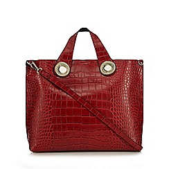 Versace Jeans - Red croc textured tote bag