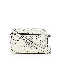 Clarks - Off white 'Misterton' polka dot print cross body bag