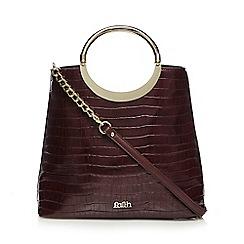 Faith - Dark red textured croc-effect tote bag