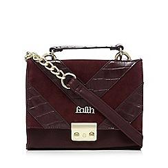 Faith - Dark red chevron snakeskin-effect shoulder bag