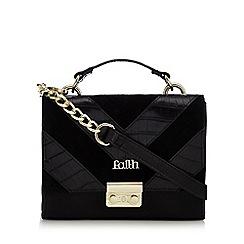 Faith - Black chevron snakeskin-effect shoulder bag