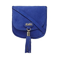 Faith - Bright blue suede tasselled saddle bag