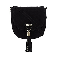 Faith - Black suede tasselled saddle bag