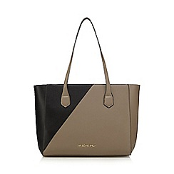 Valentino - Black and taupe logo plate shopper bag