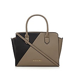 Valentino - Black and taupe logo plate grab bag