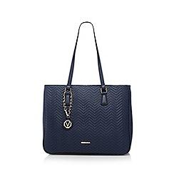 Valentino - Navy 'Maschai' zigzag textured shopper bag