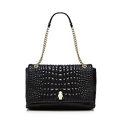 Cavalli Class - Black croc-effect shoulder bag