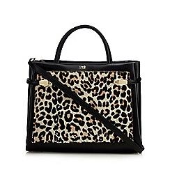 Cavalli Class - Black leather leopard print grab bag