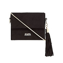 Faith - Black tasselled chain box shoulder bag