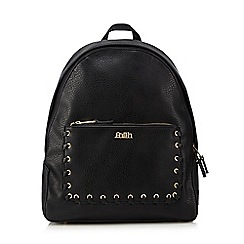 Faith - Black whipstitch pocket backpack