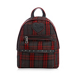 H! by Henry Holland - Dark red tartan checked print backpack