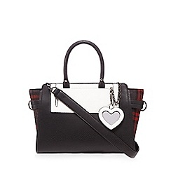 H! by Henry Holland - Black tartan print winged grab bag