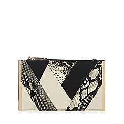 Faith - Black snake-effect patchwork clutch bag