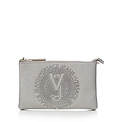 Versace Jeans - Silver embossed logo cross body bag
