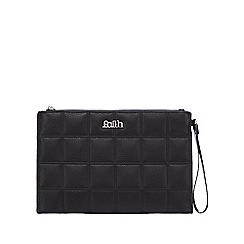 Faith - Black quilted square clutch bag