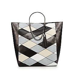 Faith - Black patchwork print tote bag